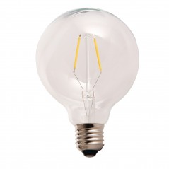LED lamp filament globe medium 2W clear